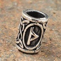 "Futhark Bartperle Rune ""THURISAZ"" aus 925er Sterling Silber"