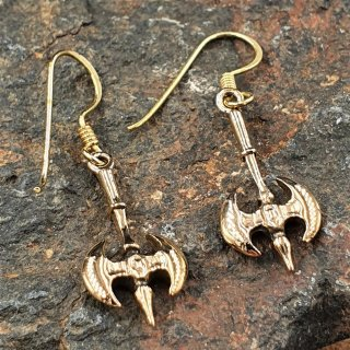 Wikinger Doppelaxt Schmuck Ohrhänger aus Bronze