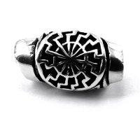 Spiralförmige Bartperle mit schwarzer Sonne aus 925 Sterling Silber