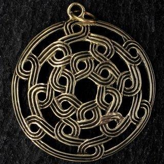 """Runder keltischer Knoten Schmuck Anhänger """"MYRDDIN"""" aus Bronze"""