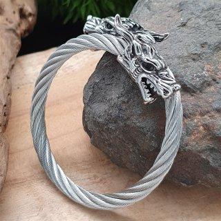 Edelstahl Stahlseil Armband mit Geri & Freki -  flexibel Stahl