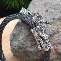 Edelstahl Stahlseil Armband mit Geri & Freki -  flexibel Schwarz