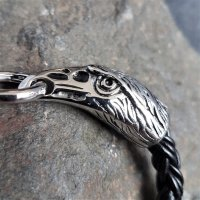 Leder/Edelstahl Armband mit den Raben Odins