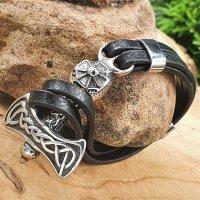 Leder/Edelstahl Armband mit einem Thorshammer Verschluss