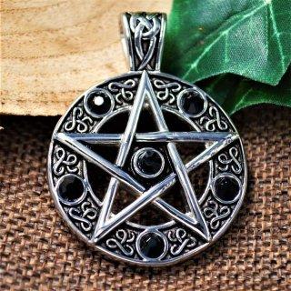 Keltisches Pentagramm Amulett mit schwarzen Steinen - aus Edelstahl