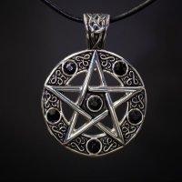 Keltisches Pentagramm Amulett mit schwarzen Steinen - aus...
