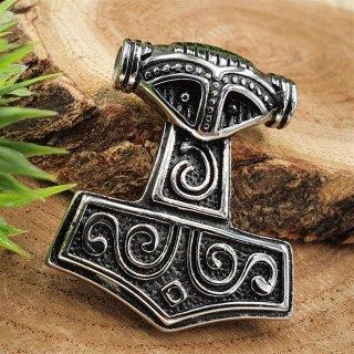 Mjölnir Schmuck Anhänger - verziert mit einem Wikingerhelm - aus Edelstahl