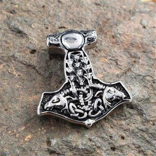 Thors Hammer Anhänger aus Edelstahl - verziert mit Thors Ziegenböcke