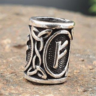 "Futhark Bartperle Rune ""FEHU"" aus 925er Sterling Silber"