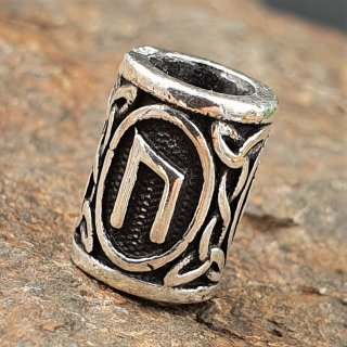 "Futhark Bartperle Rune ""URUZ"" aus 925er Sterling Silber"