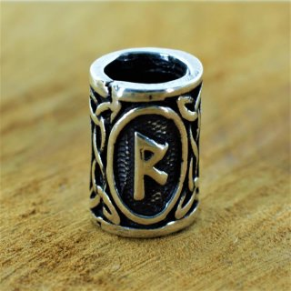 "Futhark Bartperle Rune ""RAIDHO"" aus 925er Sterling Silber"