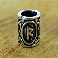 "Futhark Bartperle Rune ""RAIDHO"" aus 925er..."