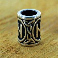 "Futhark Bartperle Rune ""HAGALAZ"" aus 925er Sterling Silber"