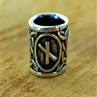"Futhark Bartperle Rune ""NAUDHIZ"" aus 925er Sterling Silber"