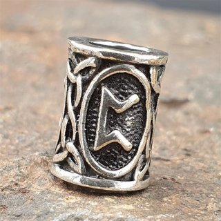 "Futhark Bartperle Rune ""PERTHRO"" aus 925er Sterling Silber"