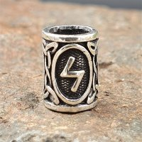 "Futhark Bartperle Rune ""SOWILO"" aus 925er Sterling Silber"