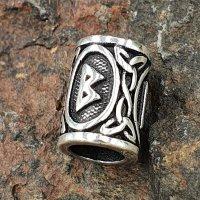 "Futhark Bartperle Rune ""BERKANA"" aus 925er Sterling Silber"