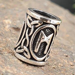 """Futhark Bartperle Rune """"MANNAZ"""" aus 925er Sterling Silber"""