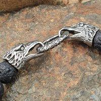 Lava Kugelarmband mit Rabenköpfe aus Edelstahl