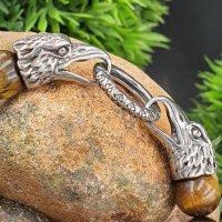 Tigeraugen Kugelarmband mit Rabenköpfe aus Edelstahl