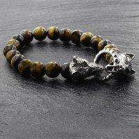 Tigeraugen Kugelarmband mit Wolfsköpfe aus Edelstahl