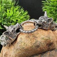 Wikinger Königsarmband mit Wolfsköpfe aus Edelstahl