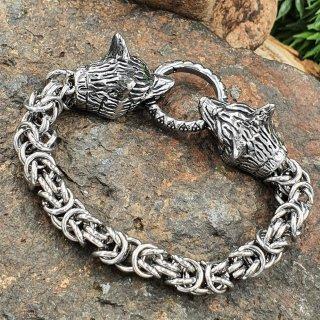 Wikinger Königsarmband mit Wolfsköpfe aus Edelstahl 19 cm