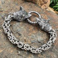 Wikinger Königsarmband mit Wolfsköpfe aus Edelstahl 21 cm