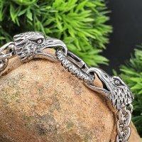 Wikinger Königsarmband mit Adlerköpfe aus Edelstahl 19 cm