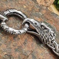 Wikinger Königsarmband mit Adlerköpfe aus Edelstahl 21 cm