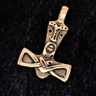 Mjölnir verziert mit dem Gesicht Thors - aus Bronze