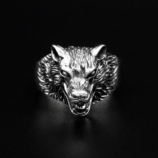 """Wolf Ring """"Hati"""" aus 925 Sterling Silber 57 (18,5) / 8 US"""