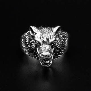 "Wolf Ring ""Hati"" aus 925 Sterling Silber 60 (19,0) / 9 US"