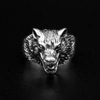 Wolf Ring Hati aus 925 Sterling Silber 68 (21,6) / 12 US