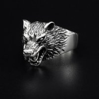 """Wolf Ring """"Hati"""" aus 925 Sterling Silber 70 (22,3) / 13 US"""