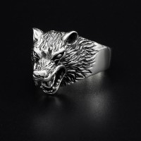 """Wolf Ring """"Hati"""" aus 925 Sterling Silber 72 (23,0) / 14 US"""