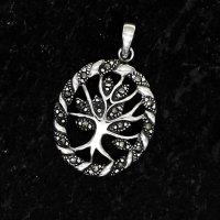 Lebensbaum mit Markasit Steine aus 925 Sterling Silber