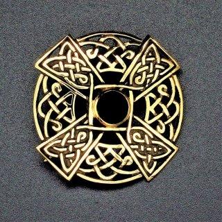 Keltisches Kreuz Fibel mit Onyx aus Bronze