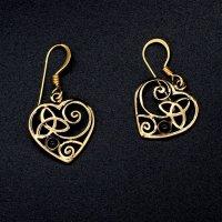 Bronze Herz Ohrhänger mit keltischen Knoten aus Bronze