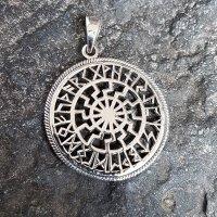 Schwarze Sonne Anhänger mit Futhark Runen aus 925er...