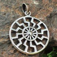 Sonnenrad / Schwarze Sonne Schmuck Amulett aus 925er Sterling Silber