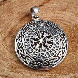"""Vegvisir Anhänger """"BOLVAR"""", verziert mit nordischen Runen, aus 925er Sterling Silber"""