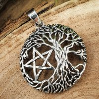 Lebensbaum Schmuck Anhänger mit Pentagramm aus 925...