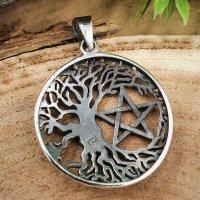 Lebensbaum Schmuck Anhänger mit Pentagramm aus 925 Sterling Silber