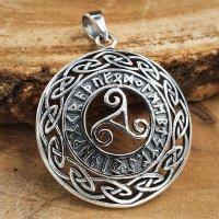 Triskele Anhänger mit Futhark Runen aus 925 Sterling...