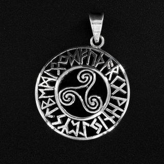 Triskele Anhänger mit Futhark Runen aus 925 Sterling Silber