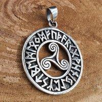 Triskele Schmuck Anhänger mit Futhark Runen aus 925 Sterling Silber
