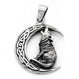 Wolf auf keltischem Mond Schmuck Anhänger aus 925er Sterling Silber