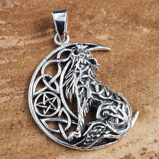 Wolf auf Mond mit Pentagramm Anhänger aus 925er Sterling Silber