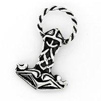 Mjölnir Schmuck Anhänger - verziert mit einem Wikingerhelm - aus Silber
